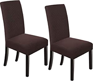 NORTHERN BROTHERS Dining Chair Covers Dining Room Chair Slipcovers Parsons Chair Slipcover Chair Covers for Dining Room Set of 2,Chocolate