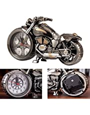 EchoAcc® Vintage Retro Motorcycle Style Students Alarm Clock Table Desk Time Clock Cool Motorbike Model Home Office Shelf Decoration Novelty Birthday Children Adults Boys Gift Brown