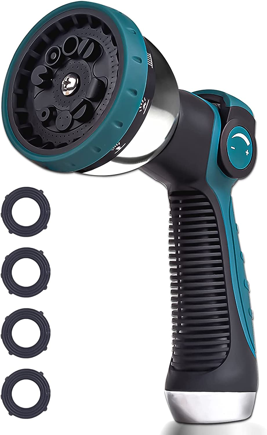 Forzolit Garden Hose Nozzle Sprayer Heavy Duty, Features 10 Spray Patterns, Thumb Control, HIGH Pressure Garden Hose Sprayer for Garden & Lawns Watering, Cleaning, Car Washing& Pets