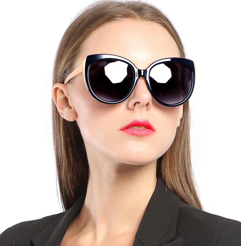 SIPLION Women's Polarized Wayfarer Cat Eye Oversized Sunglasses For Women 8103 Blue