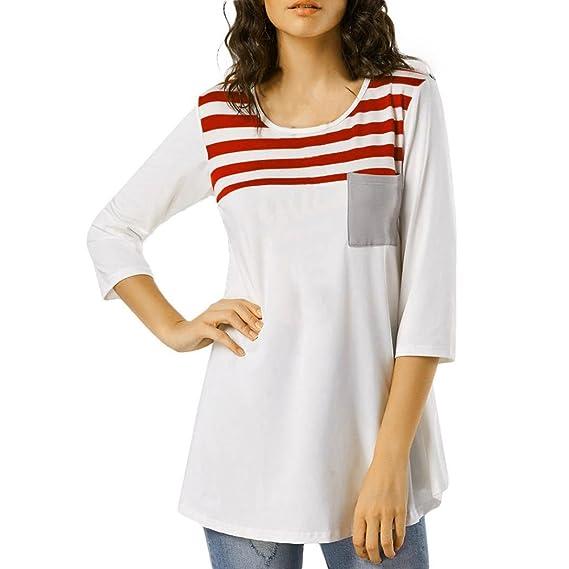 Camisetas,LANDFOX Casual suelta camiseta Tops rayas de tres cuartos Blusa manga (S)