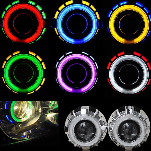 Nilight® 8000k 2.5 Inch Blue Inside and Red Outside Bi-xenon Projector Lens Headlight Dual Angel Eyes