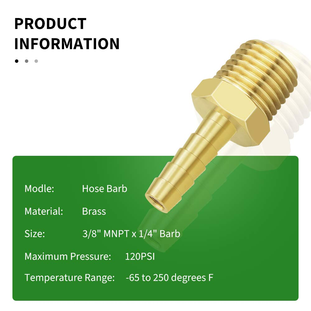 Taisher 2PCS Hose Barb Fittings 1//4 Barb x 1//4 MNPT Pipe Adapter Air Hose Fitting with 2Pcs Hose Clamp