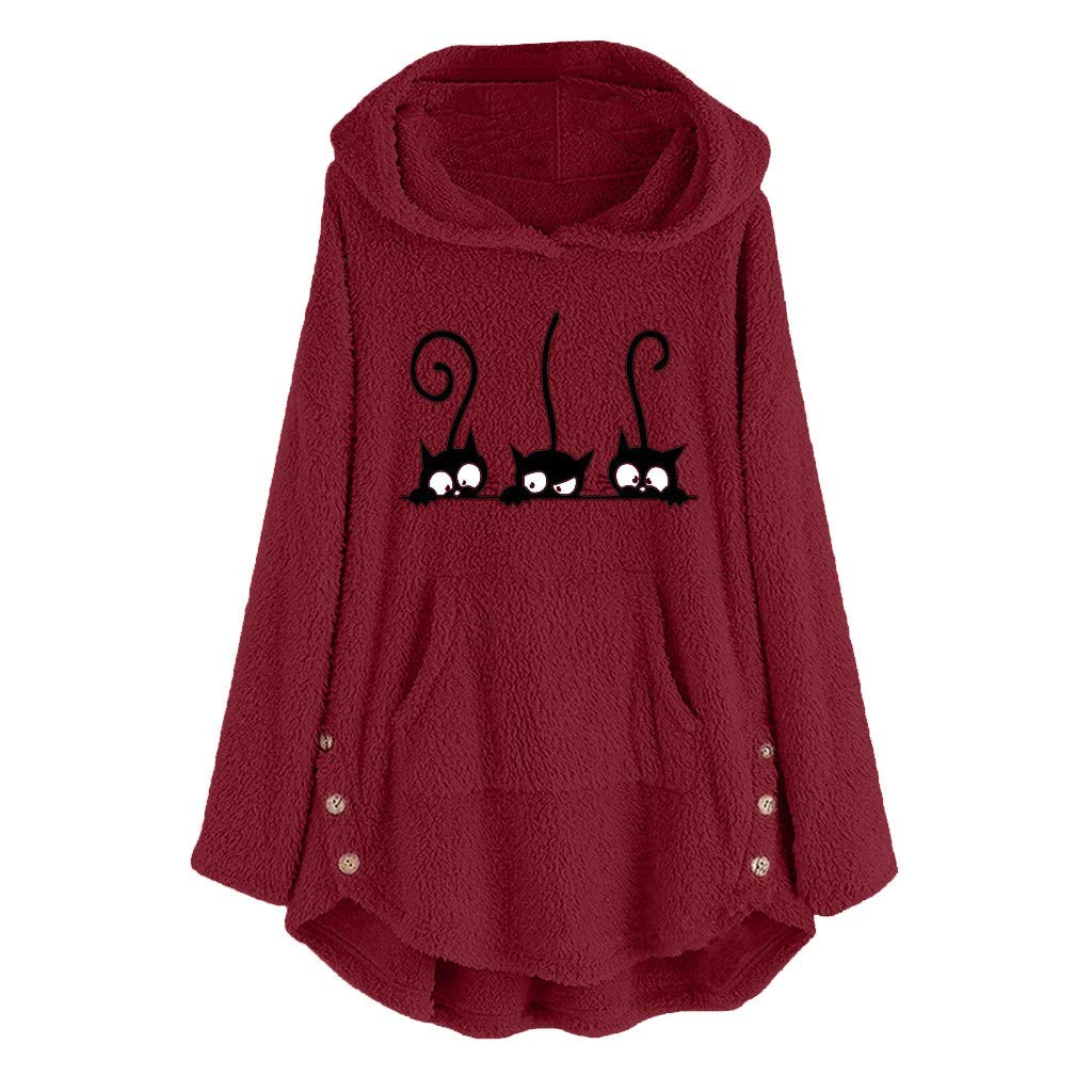 Fammison Ladies Cute Cat Ear Long Sleeve Fleece Hoodie Plus Size Solid Color Embroidery Pullover Sweater Wine by Fammison