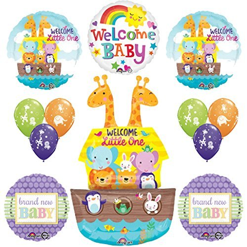 12 pc Noahs Ark Cute and Cuddly Jungle Animal Latex Welcome Baby Baby Shower Party Supplies and Balloon Decorations]()