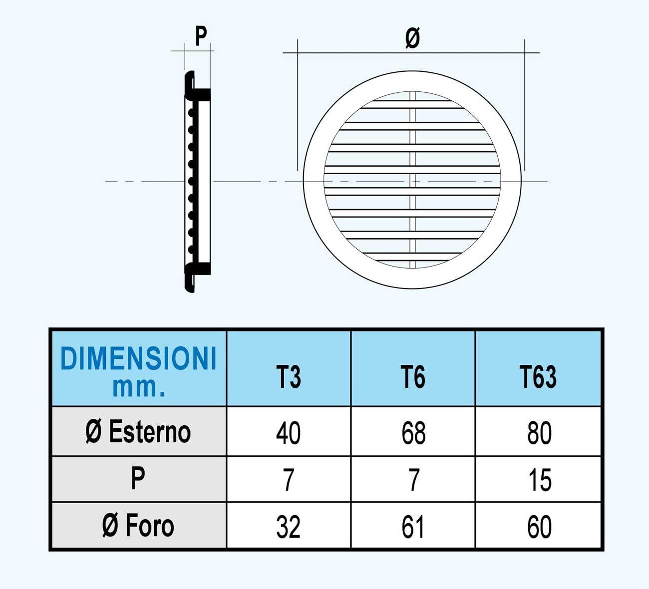color blanco di/ámetro 68 mm La Ventilazione T6B Rejilla de ventilaci/ón redonda de pl/ástico para integrar