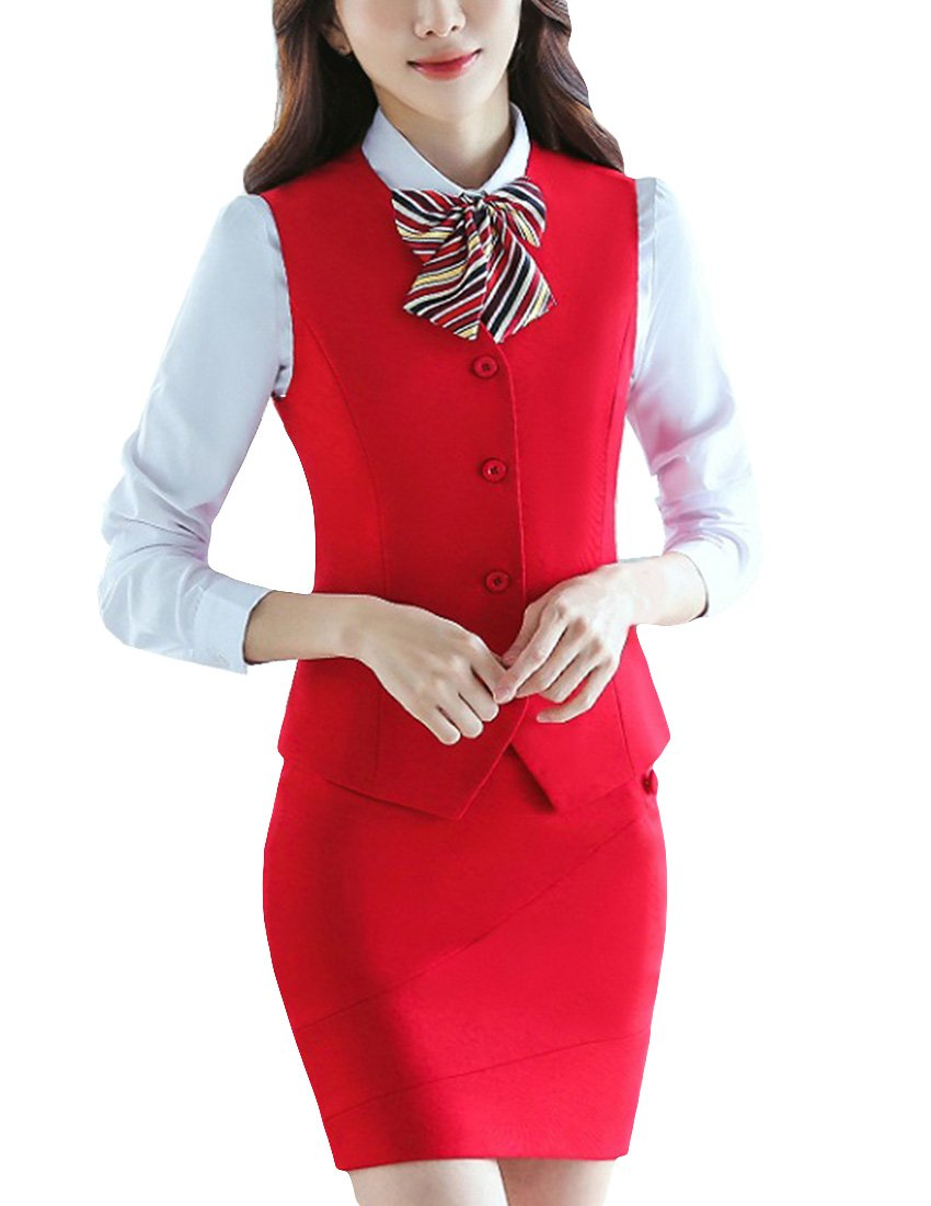 MFrannie Women Button Down Vest and Skirt Formal Work 2 Pieces Suit Set