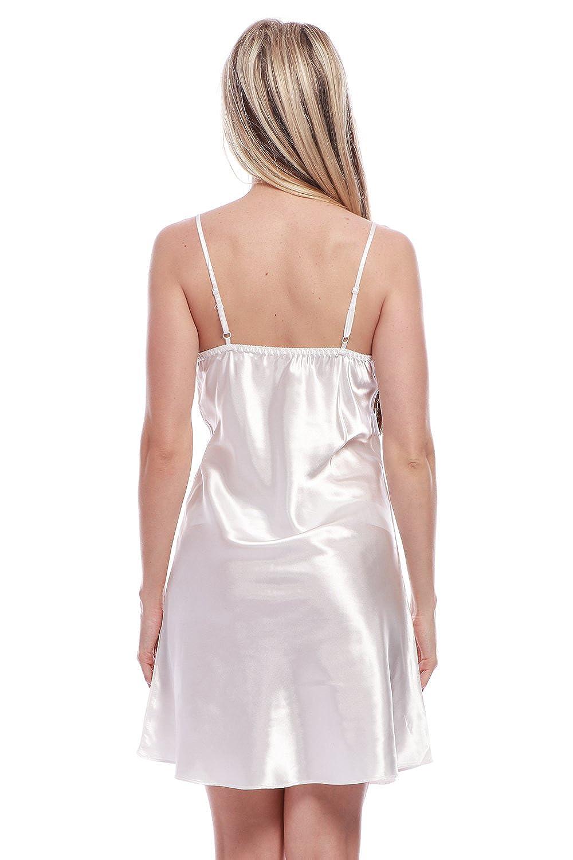 BellisMira Camicia da Notte Corta in Raso Serico Pigiameria e Robe V Collare Spalline Regolabili