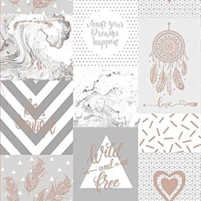 Holden Decor Life Is Beautiful Quotes Geometric Marble Wallpaper Beige 90051