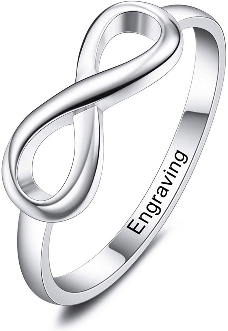 INBLUE Personalized Infinity Knot BFF Friendship Rings Engraved Name Date Custom Rings for Women Girls Lover Sisters Sterling Silver Engagement Wedding Promise Jewelry for Mothers Day Valentines Day