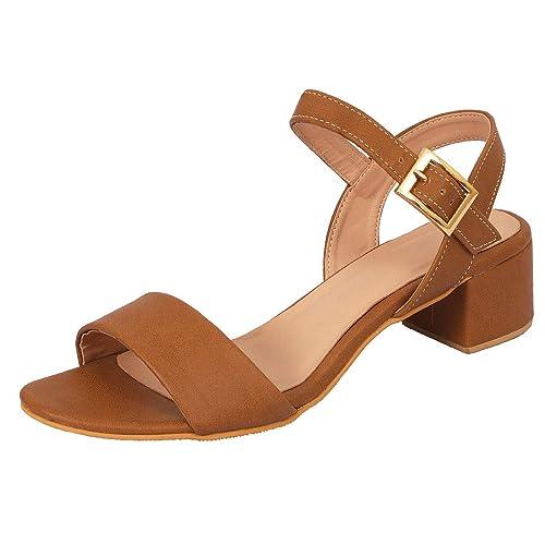 c772f071d56 LoferKama Fashionable Tan Box Heel Sandals for Women   Girls  Buy ...