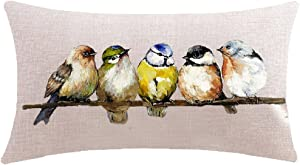 ITFRO Hand-Painted Oil Painting Rustic Forest Wildlife Birds Tree Branches Waist Lumbar Cotton Linen Throw Pillow Case Cushion Cover Rectangular 12x20 inches