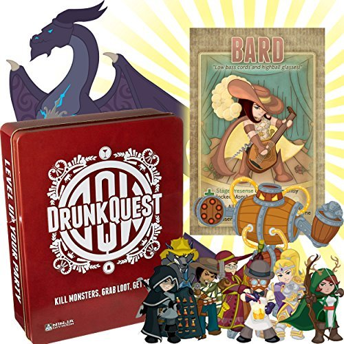 Drunk Quest Drinking Games - A Fun Drinking Party Game for Adults, Print and Play and Bard Card Included with this set.