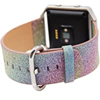 LiQi Fitbit Blaze Band,Extreme Deluxe 3D Bling Glitter Leather Bracelet Smart Watch Band Wristband Replacement for Fitbit Blaze,Rainbow