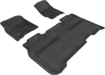 3D MAXpider Complete Set Custom Fit All-Weather Floor Mat for Select Chevrolet Silverado Models Black Kagu Rubber