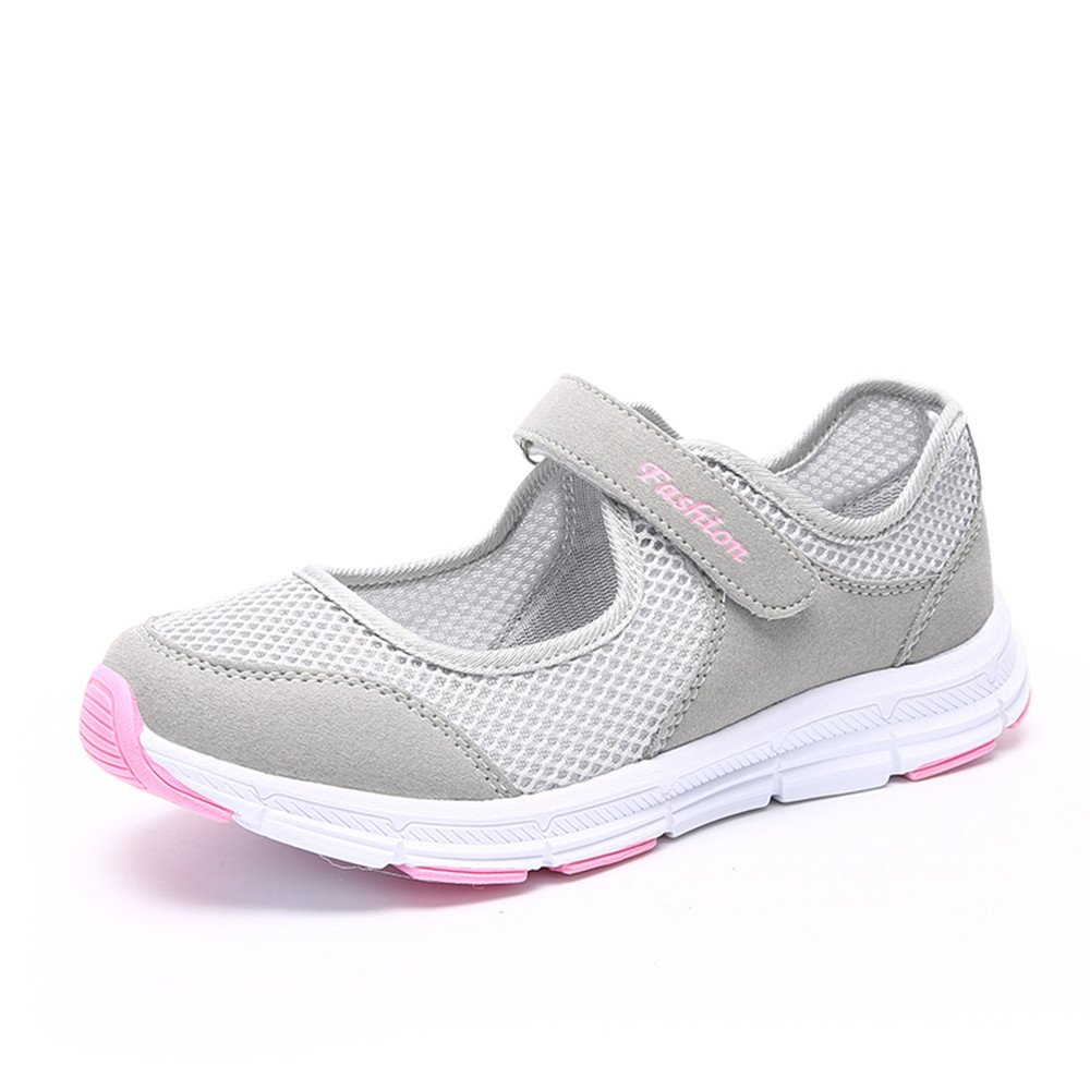 HY-YS Women Lightweight Walking Shoes Plus Size Summer Breathable Flat Sneakers Velcro Close (US5, Grey)