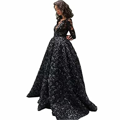 ba493eaa8264 Chady 2018 Sexy Black Prom Dresses with Long Sleeve Jewel Neck Illusion Black  3D Rose Floral