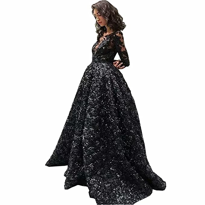 Chady 2018 Sexy Black Prom Dresses with Long Sleeve Jewel Neck Illusion Black 3D Rose Floral