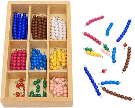 Materiales matemáticos Montessori Bead Set 1 a 9 Barras de bola de perla en una caja de madera Early Childhood Educational Number Color Cognition Addition Subtraction Toy for Baby Kids Children: Amazon.es: