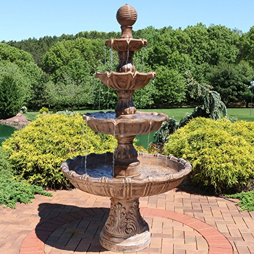 Large Serenity Floor Water Fountain (Sunnydaze Large Tiered Outdoor Water Fountain with Ball Top, 80 Inch Tall)