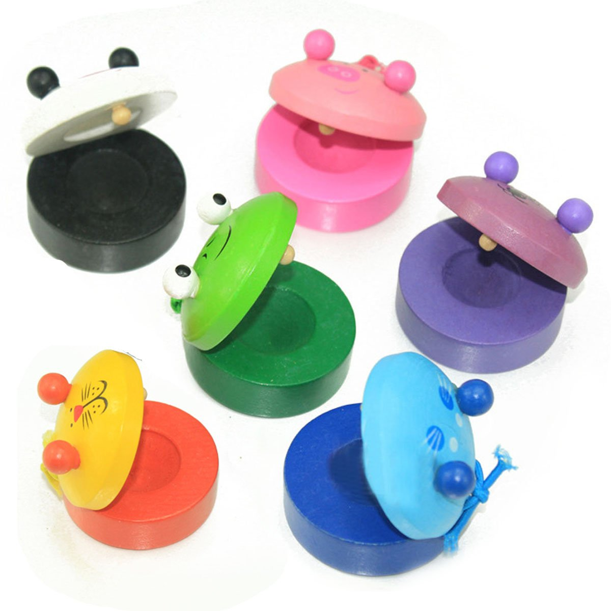 OSOPOLA Castanets Finger Wooden Musical Instruments Toys for Baby Kids 6pcs