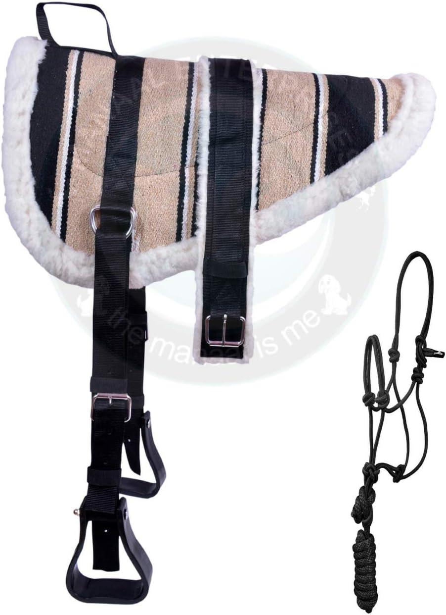 Free Girth Stirrups /& Rope Halter. ME Enterprises Navajo Bareback Pad