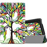 Infiland Case for All-New Fire 7 Tablet (2017 7th Generation) - Ultra Slim Lightweight Tri-fold Stand Cover For All-New Fire 7 Tablet (7th Generation, 2017 release), Lucky Tree
