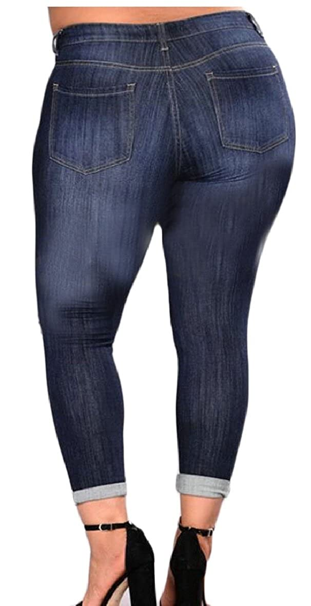CBTLVSN Womens Stretch Pull-On Skinny Ripped Distressed Denim Jeggings Regular-Plus Size