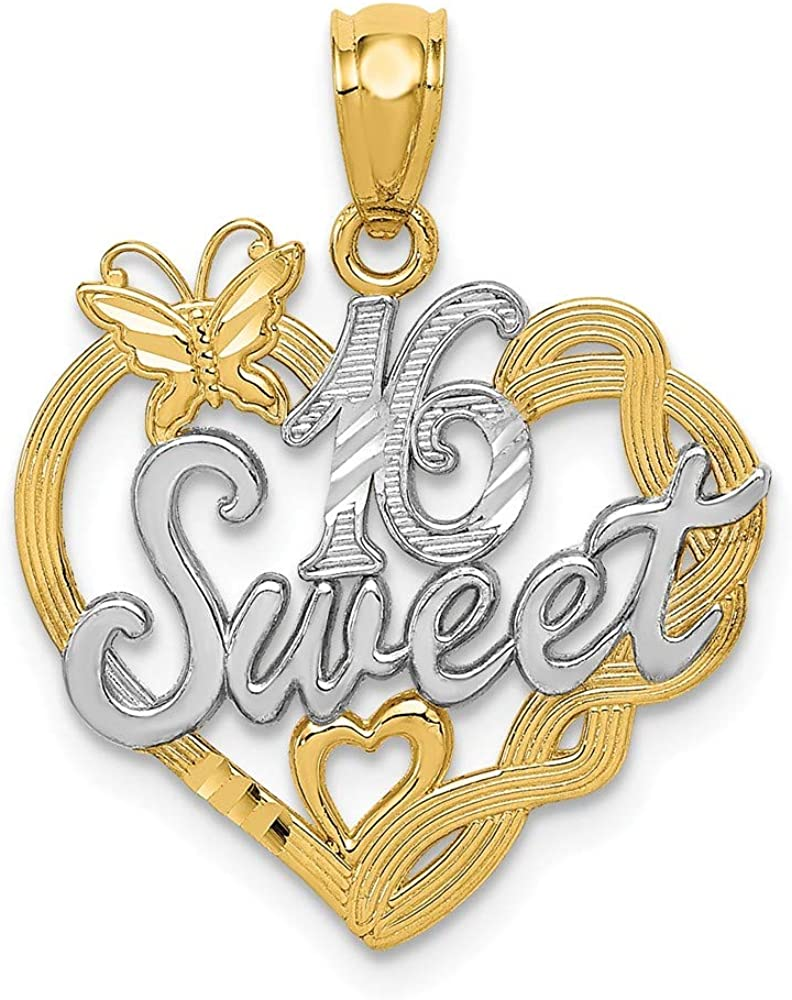 FB Jewels Solid 14K Yellow Gold And Rhodium Sweet 16 Pendant