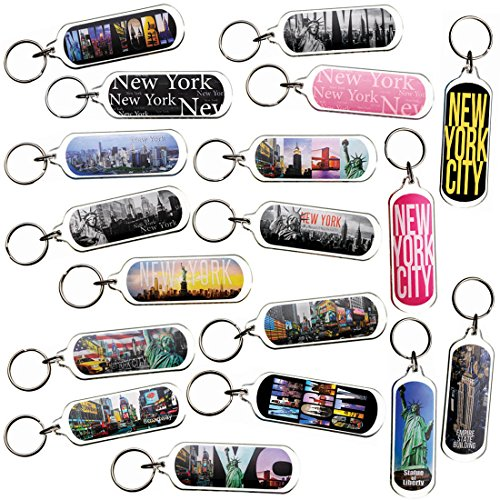 Ultimate Collectible New York NY NYC Manhattan Landmarks Photo Keychain Key Ring Gift Souvenir Set (18pk_SetA) (New York Souvenirs Keychains)