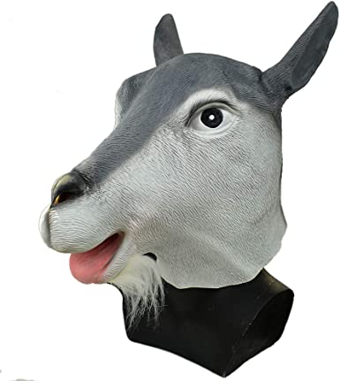 Sheep Mask Rams Deluxe FULL Latex Mask Head Black Sheep Animal Costume Adult NEW