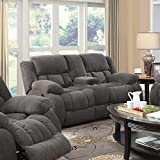 Coaster Weissman Casual Pillow Padded Reclining Love Seat with Cupholders and Storage, Grey
