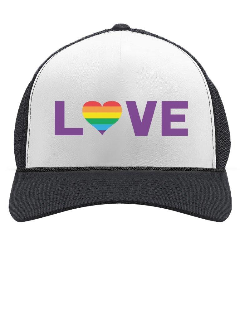 TeeStars - Gay Love - Rainbow Heart Gay & Lesbian Pride Trucker Hat Mesh Cap One Size Black/White