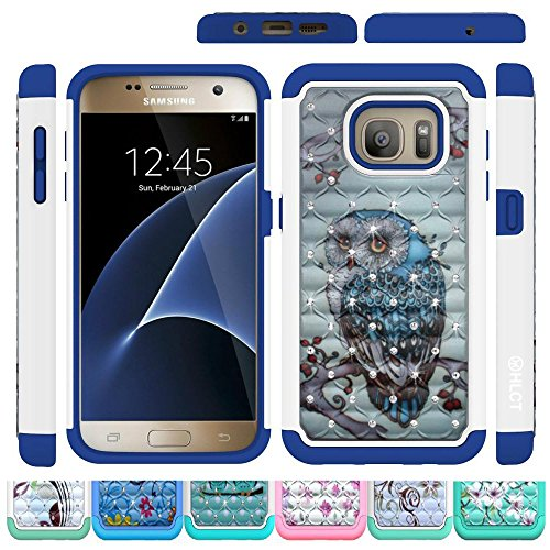 Price comparison product image Galaxy S7 Case,  HLCT Rugged Shock Proof Dual-Layer Case for Samsung Galaxy S7 (2016) (Owl Blue)