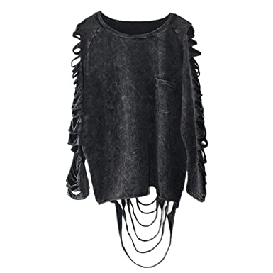 Women Black Punk Rock Style Casual Hallow Out Streetwear Tops Clothing 1a74b69bbd