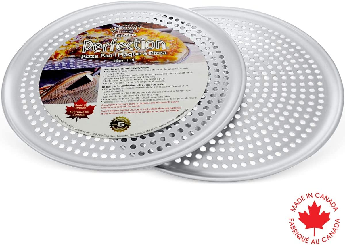Crown Pizza Pan with Holes 14 inch, 2 Pack, Heavy Duty, Rust Free, Pure Aluminum, Easy to Clean, Perforated Pizza Pan
