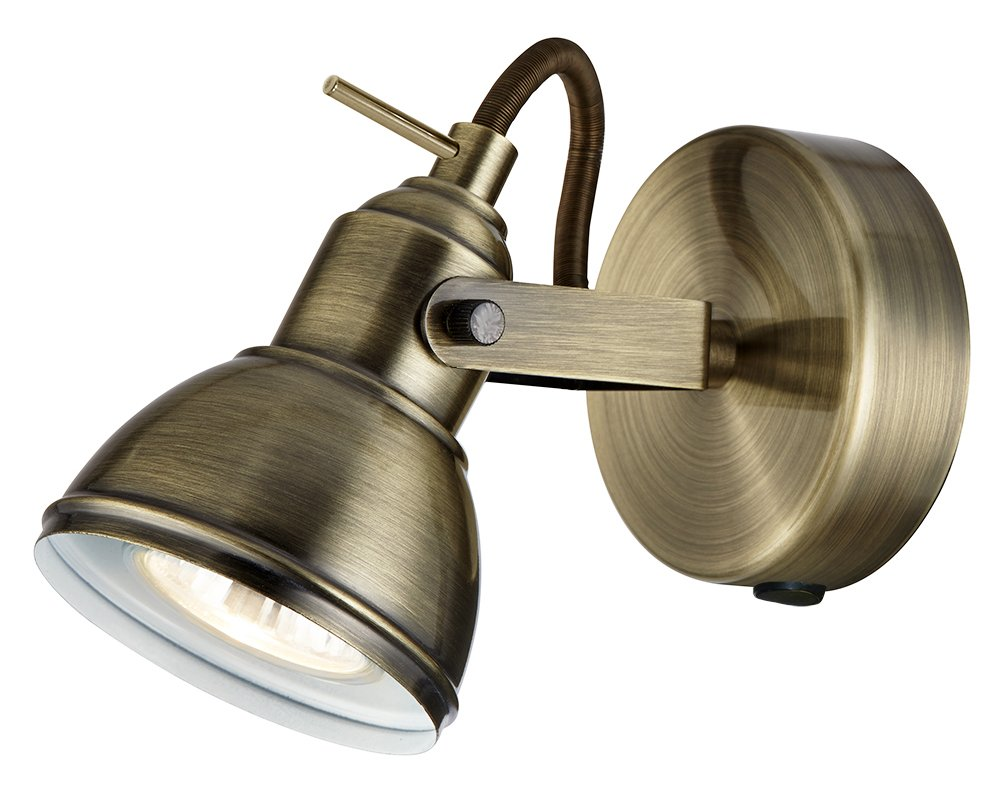 Haysom Interiors Unique Industrial Designed Switched Wall Spot Light, Steel, Satin Chrome Haysoms HA1541SS