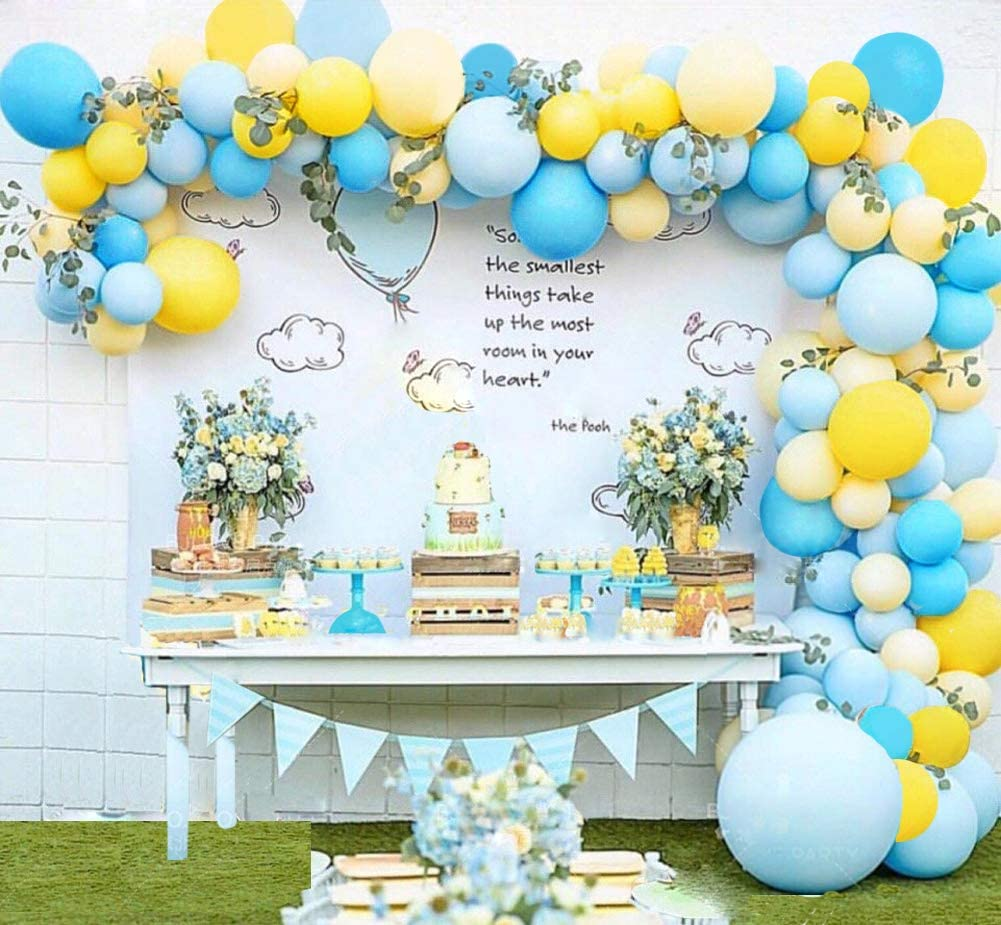Balloon Garland Arch Kit Blue Yellow Balloons Bouquet Kit Baby Shower Balloons Backdrop Background Weeding Bachelorette Birthday Party Decorations