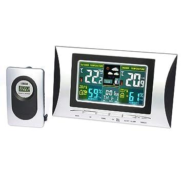 Estación Meteorológica Inalámbrica,Termómetro Higrómetro In&Outdoor,Medidor de Temperatura y Humedad con Sensor (