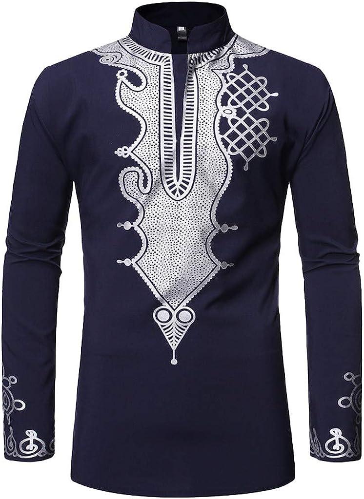 OrchidAmor 2019 Blusa de Manga Larga con Cuello Alto y Estampado Africano Vintage para Hombre - Azul Marino - X-Large: Amazon.es: Ropa y accesorios