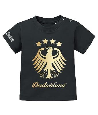 e94e332ed6c582 Jayess WM 2018 - Deutschland Adler 4 Sterne Gold - Germany - Baby T-Shirt   Amazon.de  Bekleidung
