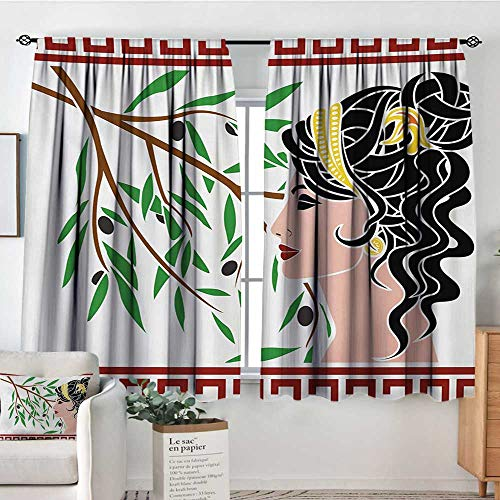 - Mozenou Toga Party Thermal Insulating Blackout Curtain Mythological Aphrodite Profile and Olive Branch Greek Borders Framework Print Kid Blackout Curtains 55
