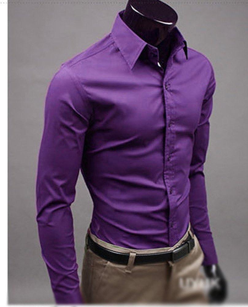 Keral Casual Slim Fit Unique Neckline Stylish Long Sleeve Mens shirts Purple XL