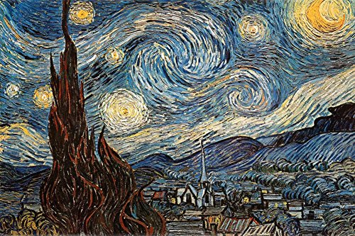 Starry Print Night Poster (Starry Night, c. 1889 Poster by Vincent van Gogh 36 x 24in)