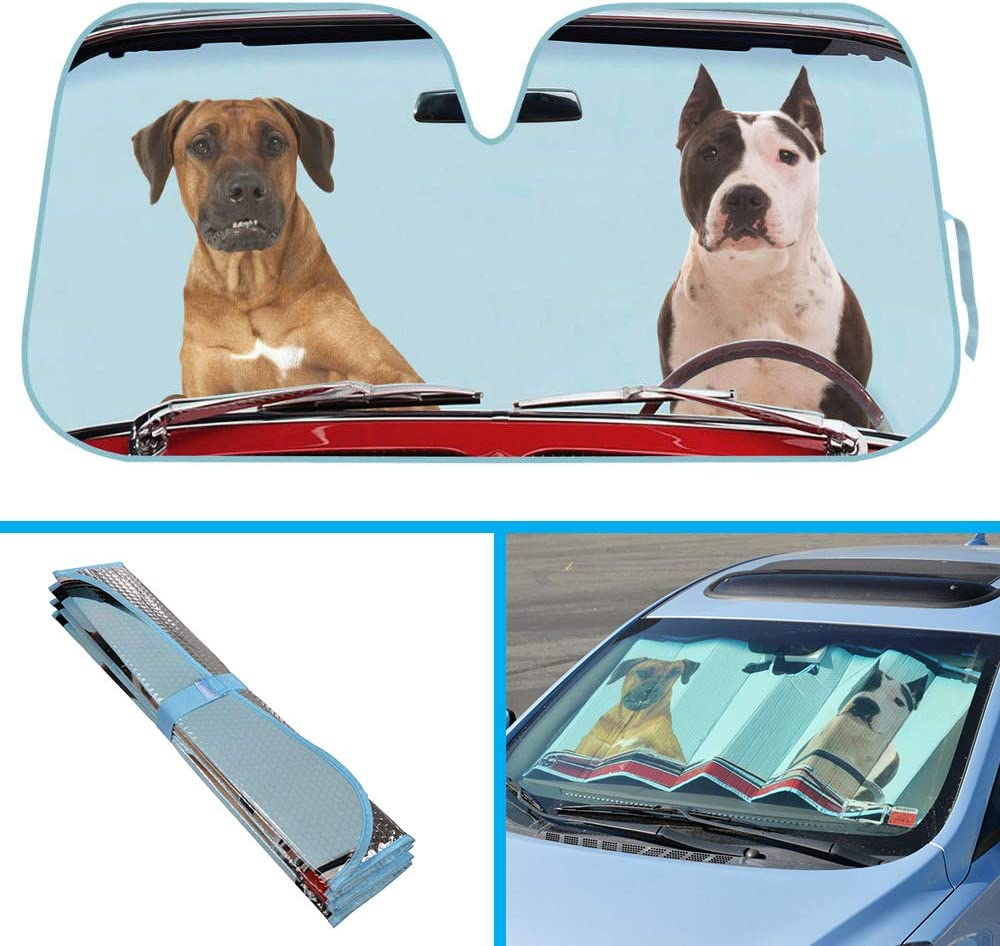 Pet Pals Double Bubble Foil Jumbo Folding Accordion BDK 2 Dogs Auto Windshield Sun Shade w//Side Sunshades for Car SUV Truck