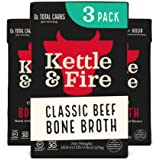 Kettle and Fire Classic Beef Bone Broth, Keto, Paleo, and Whole 30 Approved, Gluten Free, High in Protein and Collagen, 3 Pac