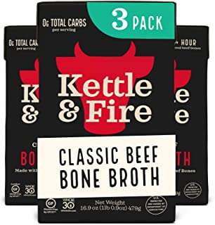 product image for Beef Bone Broth Soup - Organic, Grass Fed, Bone Broth Collagen Protein (10g) - Perfect for Intermittent Fasting, Low Carb, Keto, Paleo, Whole 30 Approved Diets - Gluten Free -16.9 fl oz, Pack of 3