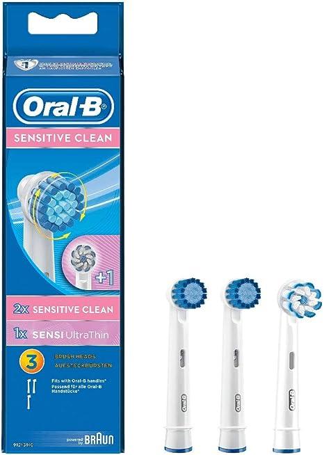 Oral B Testine di Ricambio per Spazzolino Elettrico Ricaricabile Sensitive Clean , Confezione da 3