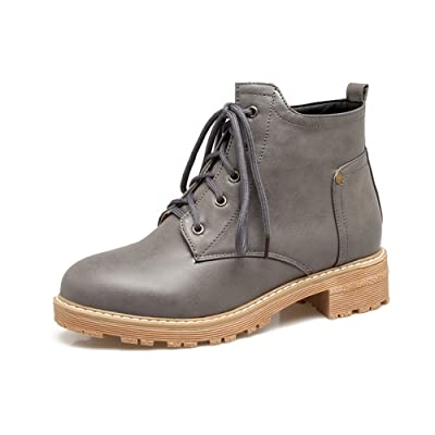 1TO9 Womens Boots Closed-Toe Lace-Up Adjustable-Strap Low-Heel Warm Lining Smooth Leather Light-Weight Closed-Toe Urethane Boots MNS02539