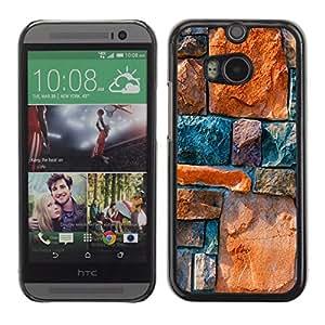 Qstar Arte & diseño plástico duro Fundas Cover Cubre Hard Case Cover para HTC One M8 ( Stone Wall Architecture Design Rocks Colorful)